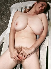 Hairy Outdoors Posing^40 Something Mag Mature Porn Sex XXX Mom Picture Pics